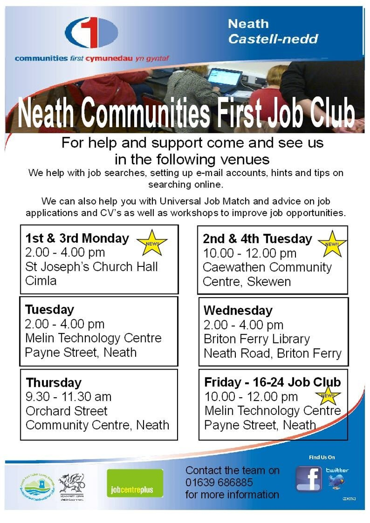 communities first job clubs earlier this week i attended a job club at st jospeh s church hall in my ward of neath south job clubs are taking place across the neath communities first
